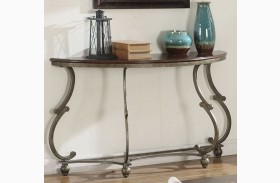 Cherry Brown and Antique Pewter Sofa Table