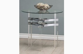 Chrome and Clear Acrylic Round End Table