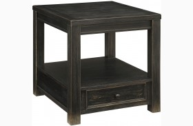 Emerson Wire Brush Textured One Drawer End Table