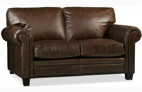 Hillsboro Chaps Havana Brown Leather Loveseat