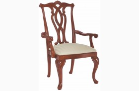 Cherry Grove Classic Antique Cherry Pierced Back Arm Chair Set of 2