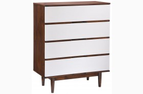 LA Walnut & White High Chest