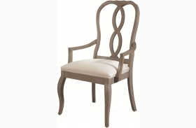 White Peony Mist Grey Fern Arm Chair