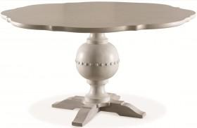 White Peony Blanc White Bloom Round Pedestal Dining Table