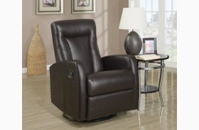 Dark Brown Swivel Recliner
