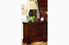 Hanover Cherry 2 Drawer Nightstand With Light And Receptacle