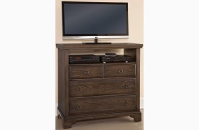 Whiskey Barrel Dark Roast 4 Drawer Media Chest