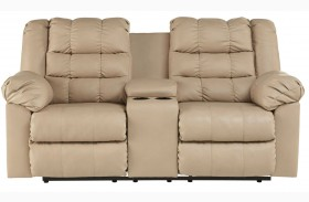 Brolayne DuraBlend Beige Double Reclining Loveseat with Console