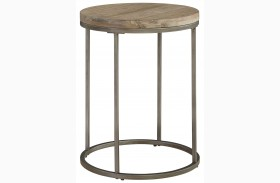 Alana Acacia Wood Top Round End Table