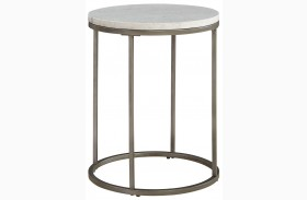 Alana Acacia Marble Top Round End Table