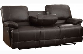 Cassville Dark Brown Double Reclining Sofa With Center Drop-Down
