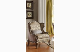Fiorella Gold Faux Silk Accent Chair