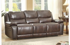 Allenwood Dark Brown Double Reclining Sofa