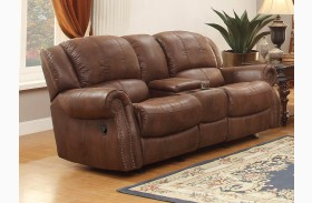 Levasy Brown Double Glider Reclining Console Loveseat