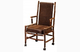Hickory Upholstered Back Castered Executive Chair