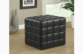 8977 Black Leather-Look Ottoman