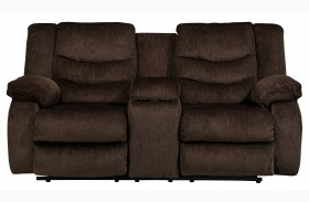 Garek Cocoa Double Reclining Loveseat with Console