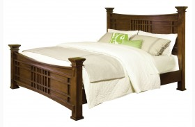 Artisan Loft Warm Medium Oak Queen Column Bed