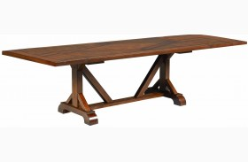 Larkspur Burnished Caramel Trestle Dining Table