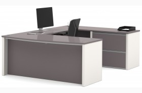 Connexion Slate & Sandstone U-Shaped Workstation with Oversized Small Pedestal