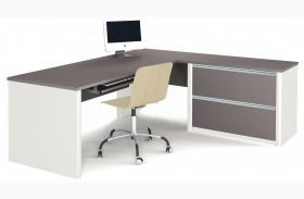 Connexion Slate & Sandstone L-Shaped Workstation with Oversized Pedestal