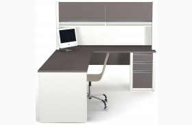 Connexion Slate & Sandstone L-Shaped Workstation with Hutch