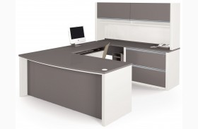 Connexion Slate & Sandstone U-Shaped Workstation Set with Hutch and Oversized Pedestal