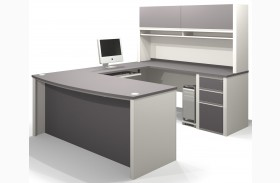 Connexion Slate & Sandstone U-Shaped Workstation with Small Pedestal