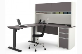 Connexion Slate & Sandstone L-Desk With Hutch