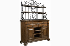 Portolone Marble Top Sideboard With Hutch