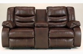 Linebacker DuraBlend Espresso Reclining Loveseat with Console