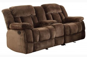 Laurelton Chocolate Double Glider Reclining Loveseat With Console