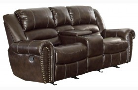 Center Hill Dark Brown Power Double Reclining Console Loveseat