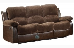 Cranley Dark Brown Double Reclining Sofa