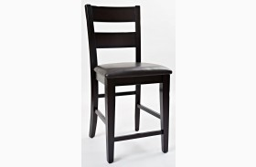 Dark Rustic Prairie One Rung Ladderback Counter Stool Set of 2