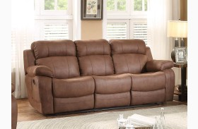 Marille Dark Brown Double Reclining Sofa With Center Drop-Down Cup-Hldr