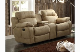 Marille Camel Double Glider Reclining Console Loveseat
