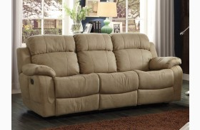 Marille Camel Double Reclining Sofa With Center Drop-Down Cup-Holder