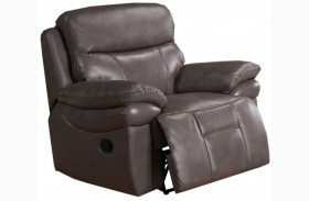 Summerlands Smoke Grey Leather Recliner
