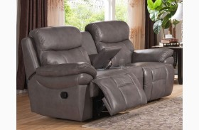 Summerlands Smoke Grey Leather Reclining Loveseat