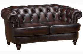 Mario Brown Leather Loveseat