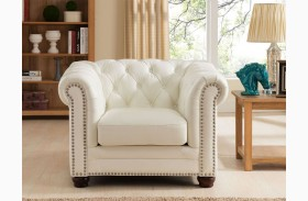 Monaco Pearl White Leather Arm Chair