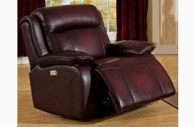 Faraday Deep Red Leather Adjustable Headrest Power Recliner