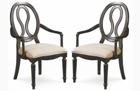 Summer Hill Midnight Pierced Back Arm Chair Set of 2