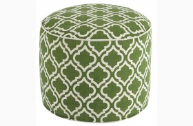 Geometric Green/White Pouf