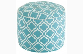 Geometric Turquoise Pouf