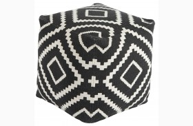 Geometric Black Pouf