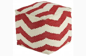 Chevron Red Pouf