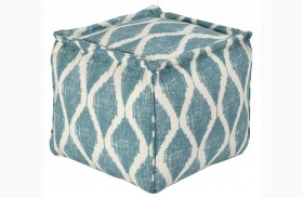Bruce Teal/White Pouf