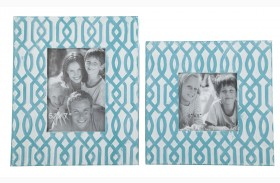 Baina Teal and White Photo Frame Set of 2